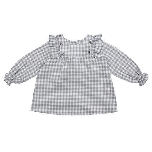 Camisa botones cuadros grises