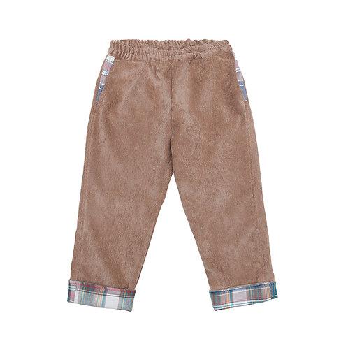 Pantalón cereza pana camel cuadros