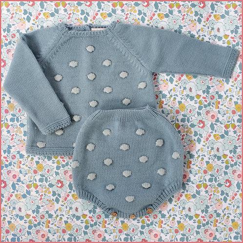 Conjunto jersey y cubre pañal punto bolitas azul