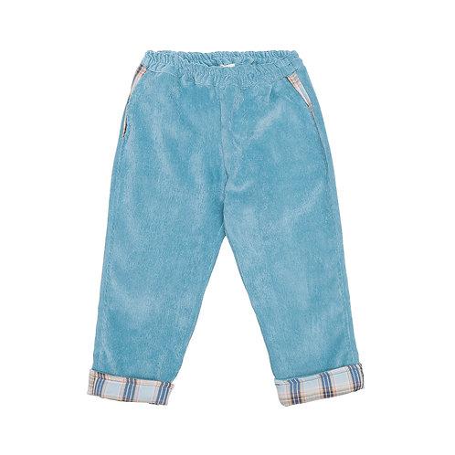 Pantalón cereza pana azul cuadros