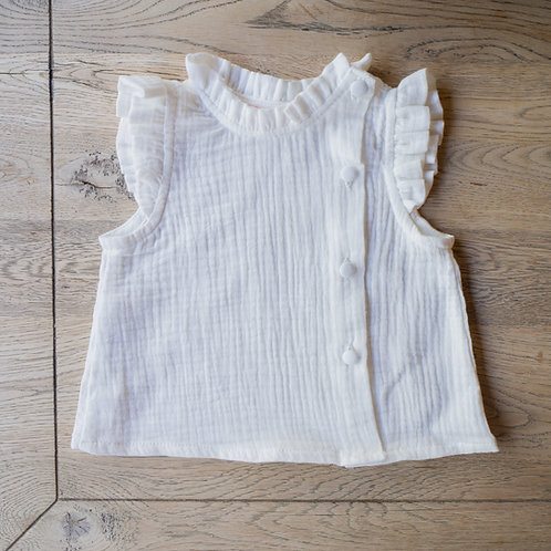 Camisa Mía sin mangas bambula blanca