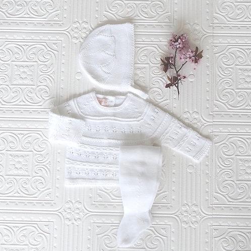 Conjunto polaina, jersey y capota punto calado blanco