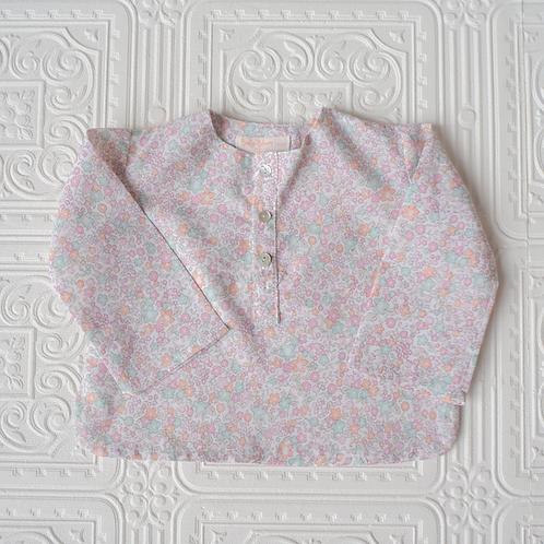 Camisa Felipe mini flor pastel rosa