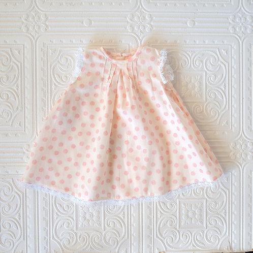 Faldón bebé Teresa topitos rosa