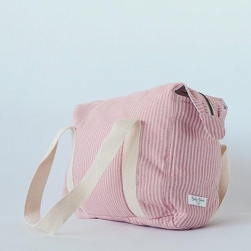 Bolsa loneta rayas rosa
