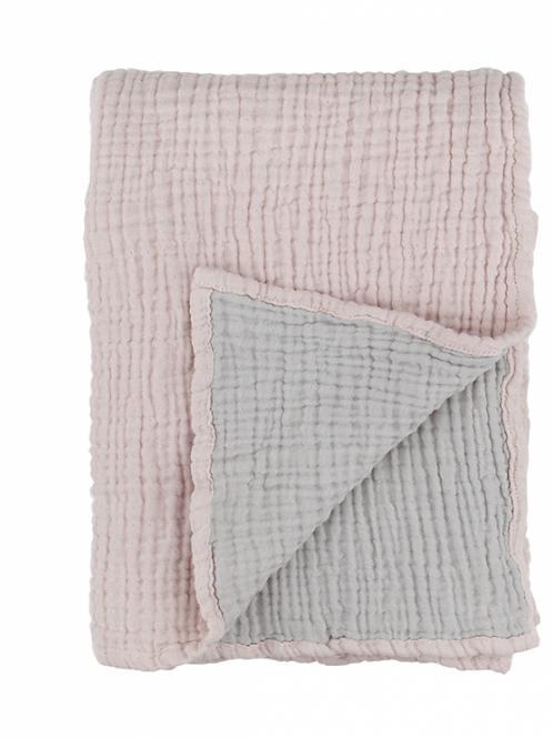 Colcha bebé rosa y gris