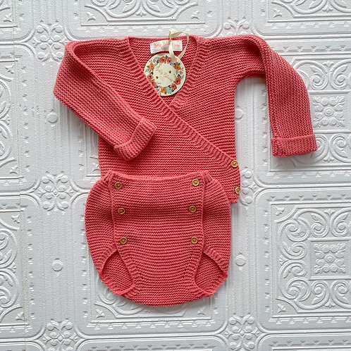 Conjunto jersey cruzado y cubre punto terracota