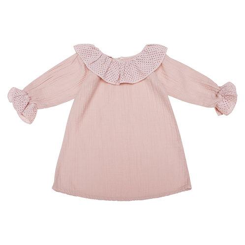 Vestido Vinci gasa rosa palo