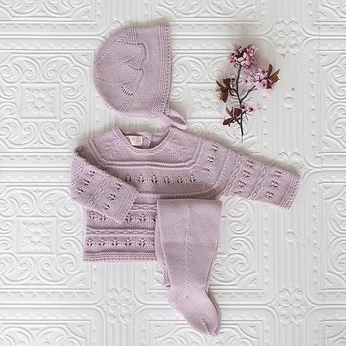 Conjunto polaina, jersey y capota punto calado rosa viejo