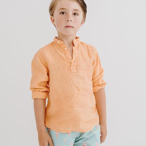 Camisa Tomy lino naranja