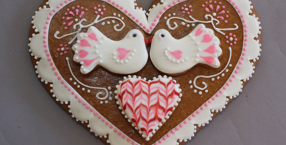 Heart with white doves