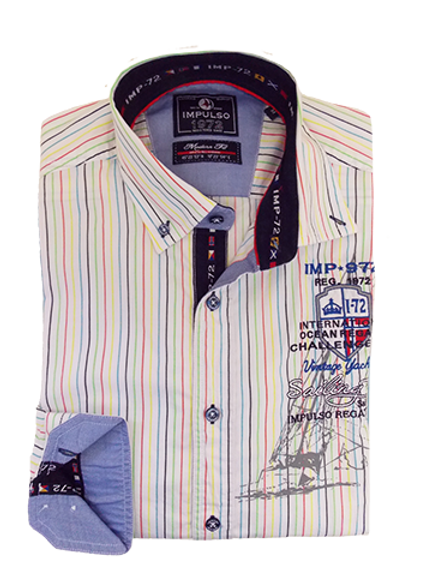 Men's White Multi Color Stripes Casual Italian Impulso Shirt