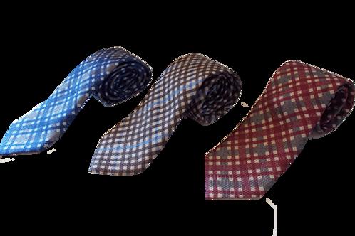 Blue, Red & Brown Classic Plaid Silk Italian Necktie