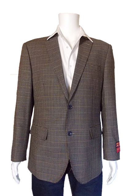 Men's Pin Check Navy & Tan Wool Sport Jacket