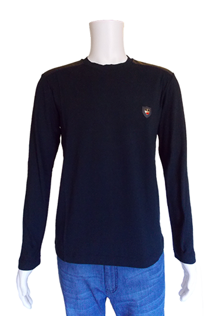 Men's Navy Mondo European Slim Fit Cotton Top with Patches