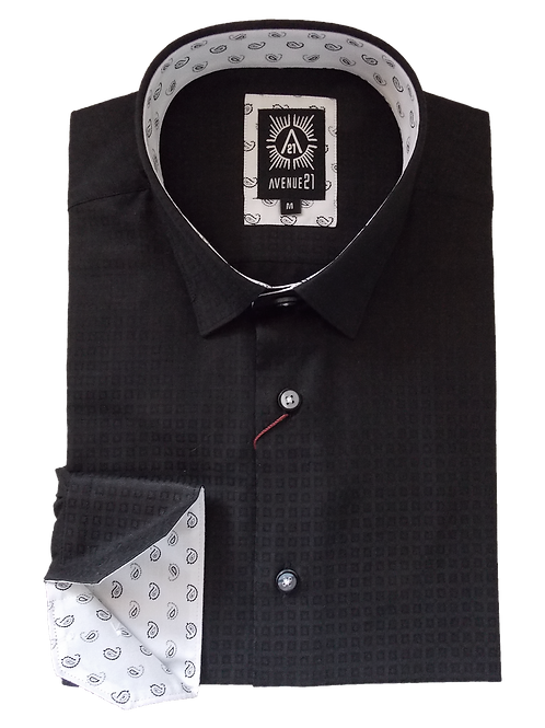 Men's Black Small Square Pattern Cotton Slim Fit Ave21 Trendy Shirt