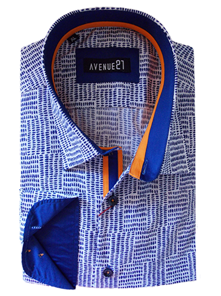 Men's Cobalt Blue & White Fine Pattern with Orange & Cobalt Contrast Shirt