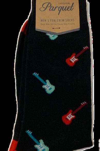 Men's fun guitar cotton crew socks
