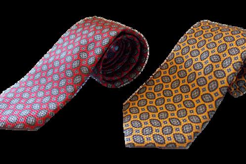 Modern Paisley Italian Silk Neckties in Red & Yellow