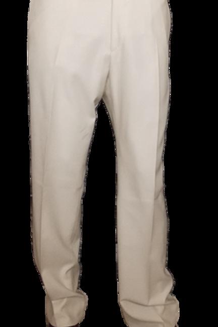 Men's Solid Ivory Fine Wool Italian Chiari Pants