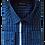 Thumbnail: Men's Navy & Blue Check Long Sleeves Maceoo Trendy Shirt