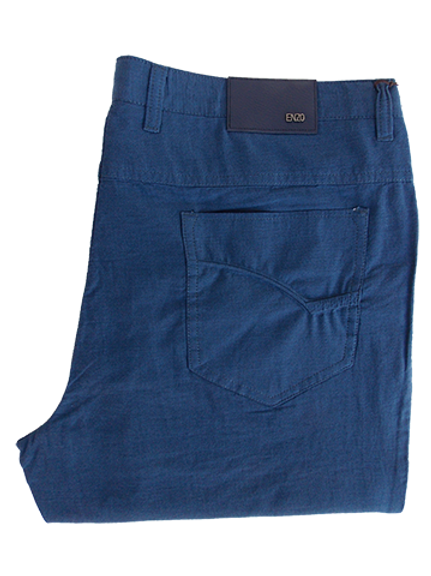 Men's Enzo Thin Steel Blue Cotton Denim Style Pants