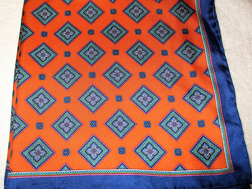 Orange diamond silk pocket square