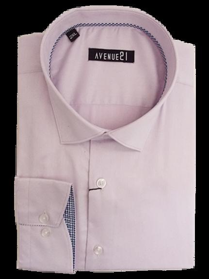 Men's pink with blue & white geometric pattern contrast long sleeve fun shirt