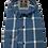 Thumbnail: Men's Ruben's blue and white plaid long sleeve super slim fit shirt