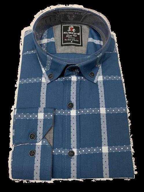 Men's Ruben's blue and white plaid long sleeve super slim fit shirt