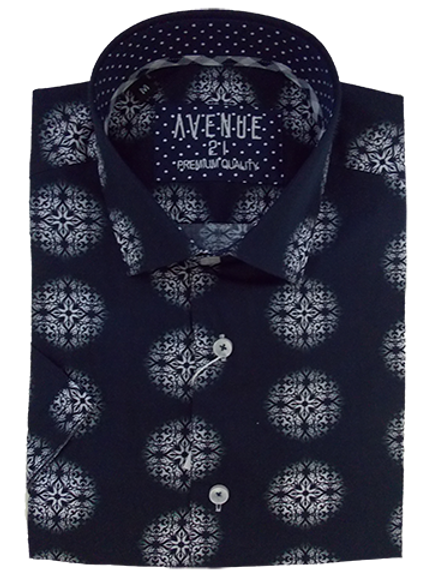 Men's navy with white kaleidoscope pattern Ave21 short sleeve shirt