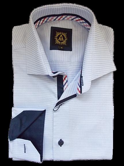 Men's Silver Blue Woven Long Sleeves Dress Ave21 Trendy Shirt
