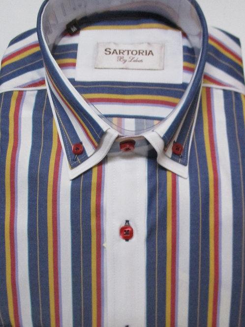 Men's Sartoria De Lebos double collar striped long sleeve shirt