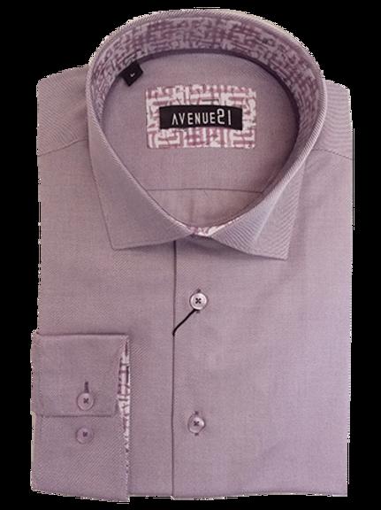 Men's light purple Ave21 cotton long sleeve shirt