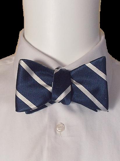 Navy and White  Stripes Silk Self-tie Bowtie
