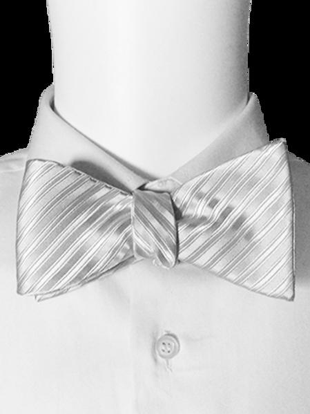 White or Black Tone On Tone Silk Striped Self-tie Bow Tie