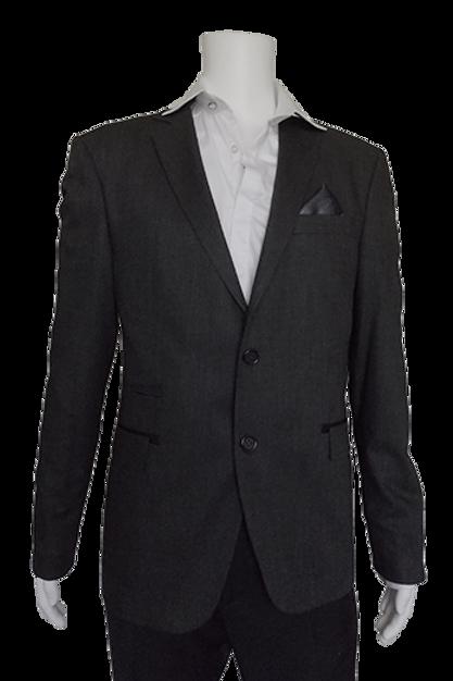 Men's Charcoal Sharkskin RNT Slim Fit Sport Jacket