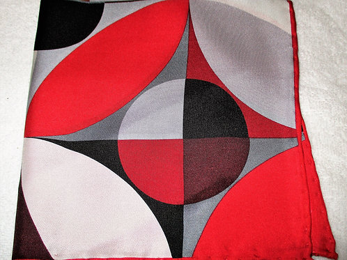Geometric Red Multicolored Silk Pocket Square