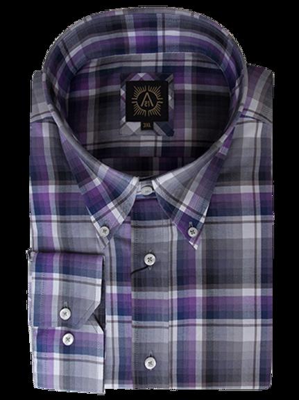 Men's Gray & Purple Plaid Long Sleeves Ave21 Shirt