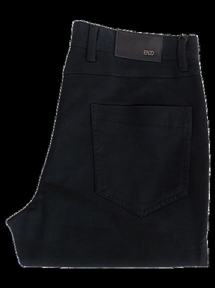 Men's Enzo Black Modern Fit Denim Style Cotton Pants