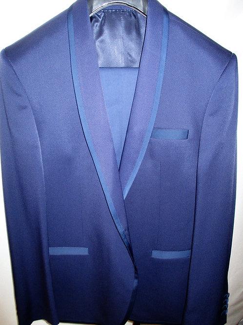 Men's Deep Royal Blue 2Pcs Oxford Weave Slim Fit Tuxedo
