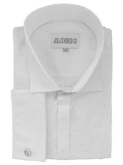 Men's White Embroidered Mondo Tuxedo Shirt