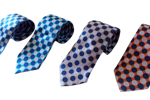 Modern Polka Dot Italian Neckties in Navy, Red, Blue & Beige