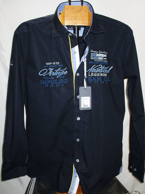 Men's Dark Navy Long Sleeves Embroidered Casual Italian Shirt