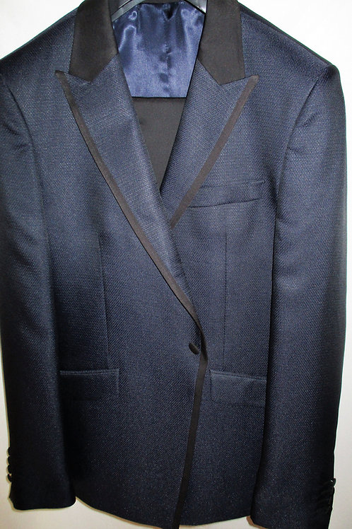 Men's Navy and Black 2Pcs Oxford weave Slim Fit Tuxedo