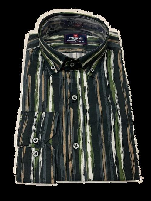 Men's Rigardi black &  earth tones  long sleeve super slim fit shirt