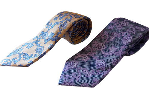 Paisley Italian Silk Neckties available in Gray/Lavender & Yellow/Blue