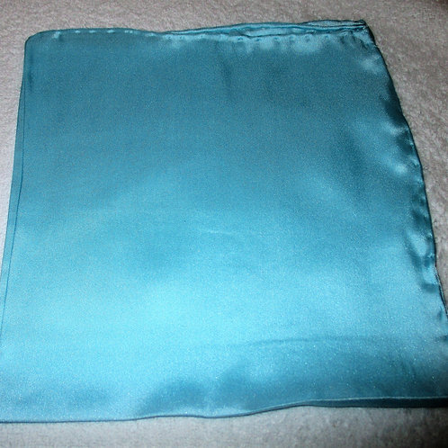 Turquoise Solid Silk Pocket Square