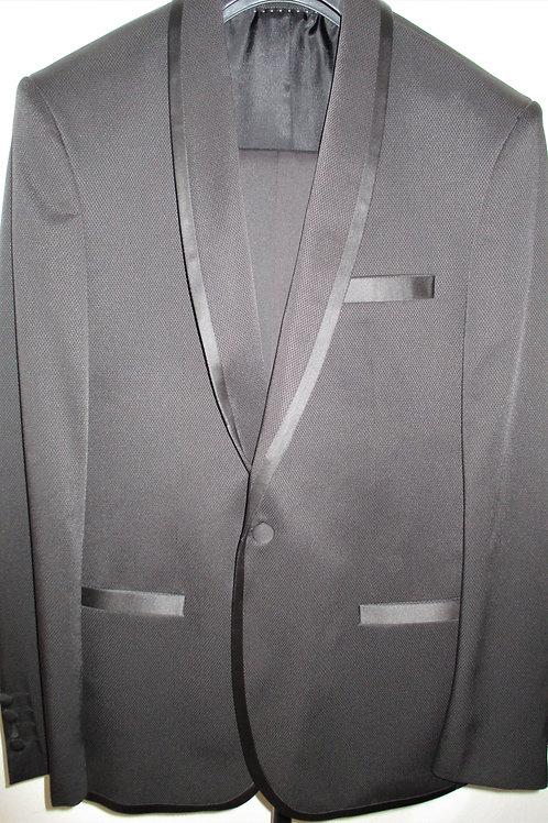 Men's Black 2 Pcs Oxford Weave Slim Fit Tuxedo