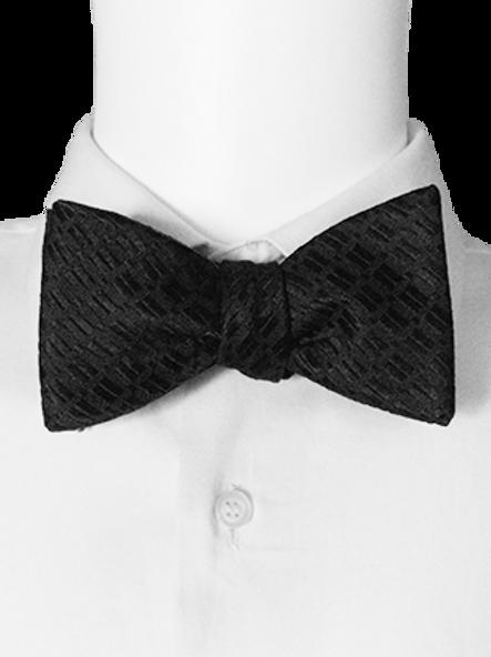 Black Jacquard Silk Self-tie Bowtie